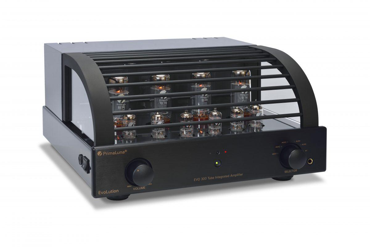 054b - PrimaLuna Evo 300 Tube Integrated Amplifier - black - slanted - white background - kopie