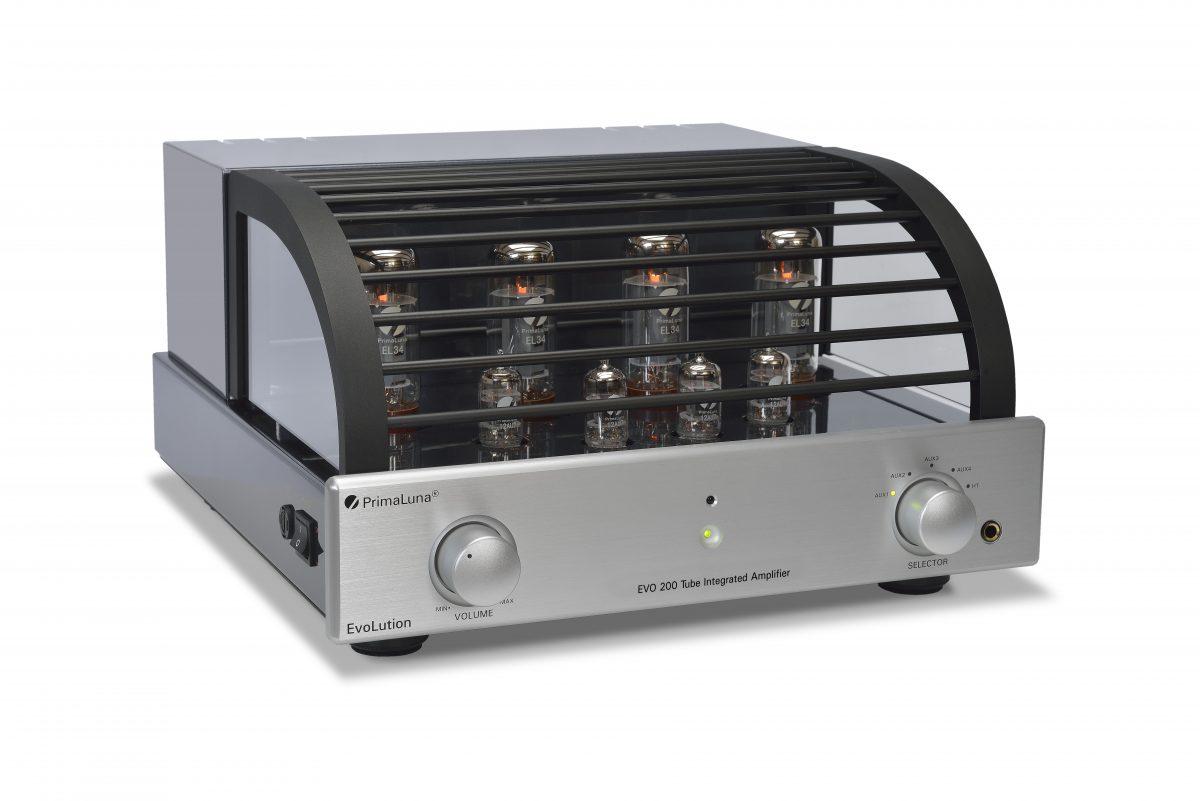 103b - PrimaLuna Evo 200 Tube Integrated Amplifier - silver - slanted - white background