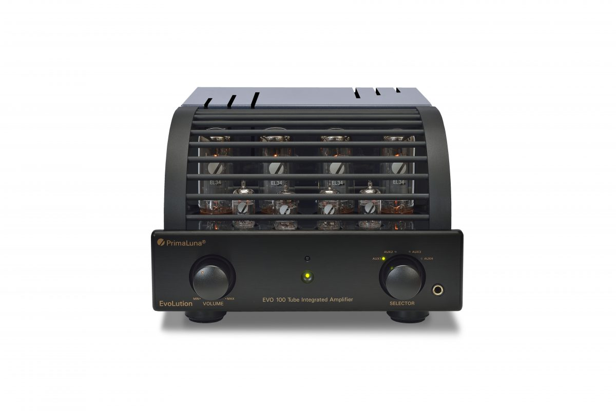 160b - PrimaLuna EVO 100 Tube Integrated Amplifier - black - front - white background